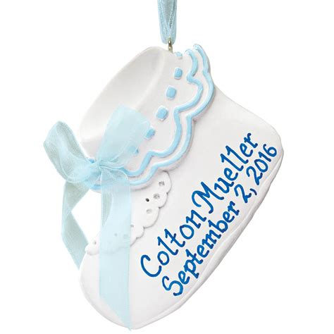 personalized baby bootie ornament christmas ornament