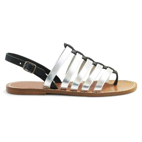 Two Sandals Womens - two tone black silver leather sandals for