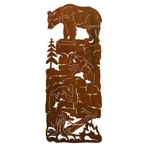 Mama Bear & Cubs Metal Wall Art