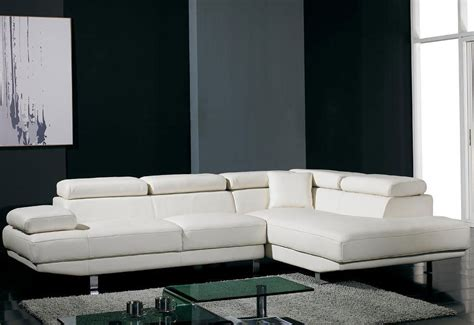 Contemporary White Leather L Shaped Sectional Sofa Modern White Leather L Shaped Sofa