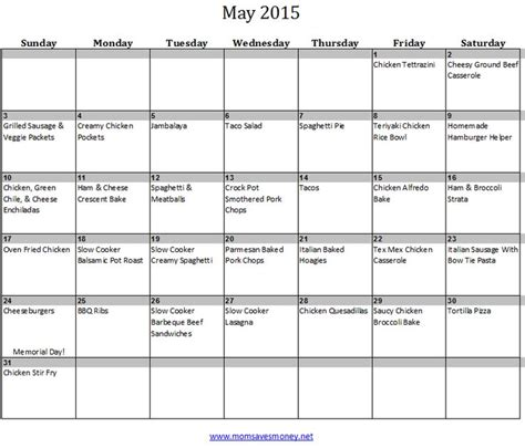 printable calendar kid friendly may monthly meal plan with printable calendar family