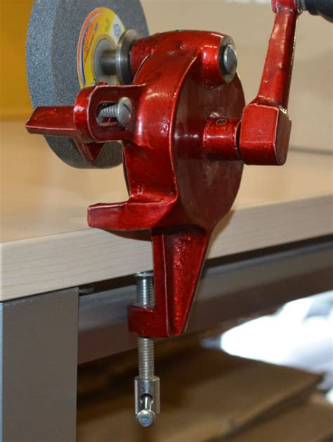 clockmakers bench hand operated grinder bench mount grind stone