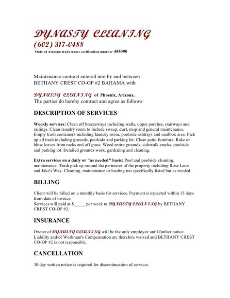 cleaning business contract template free printable cleaning contract template form generic