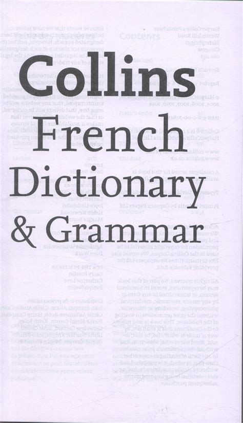 0007484356 collins french dictionary and grammar collins french dictionary grammar by collins