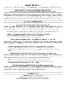 Resume Sles In Doc Car Salesman Resume Sles Gallery Creawizard