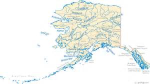 map with cities and rivers map of alaska