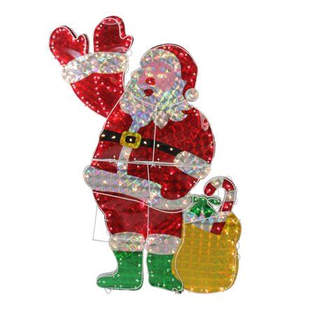 animated holographic santa light sculpture 48 quot holographic lighted waving santa claus yard decoration walmart