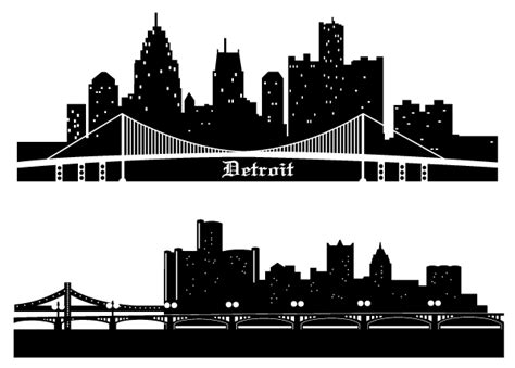 Detroit Skyline Drawing