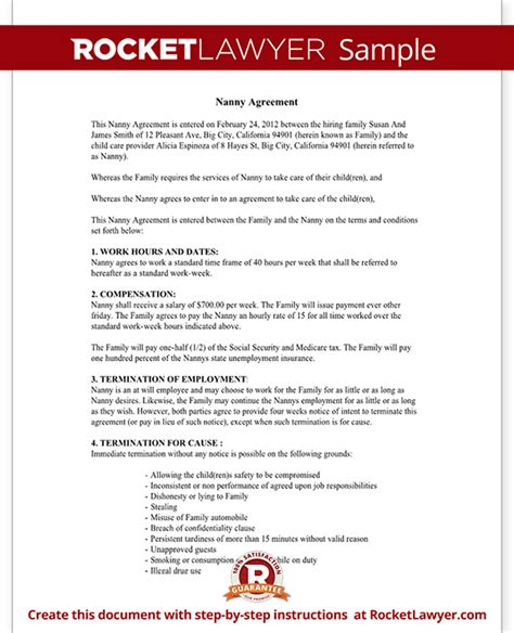 Child Care Contract Agreement Form With Sle Daycare Contract Template