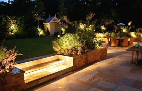 charming garden ideas with fabulous outdoor lighting ideas and ceramic floor lestnic