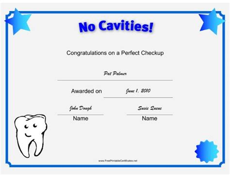 free printable tooth certificate template 13 best images about no cavity club on