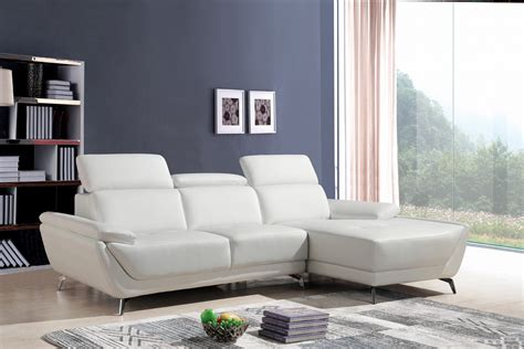 Modern Leather Sectional Sofa by Divani Casa Sterling Modern White Eco Leather Sectional Sofa
