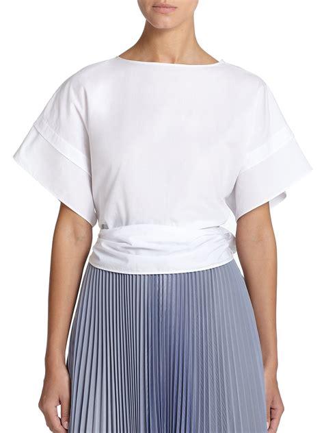 how to tie waist tome tie waist blouse in white lyst