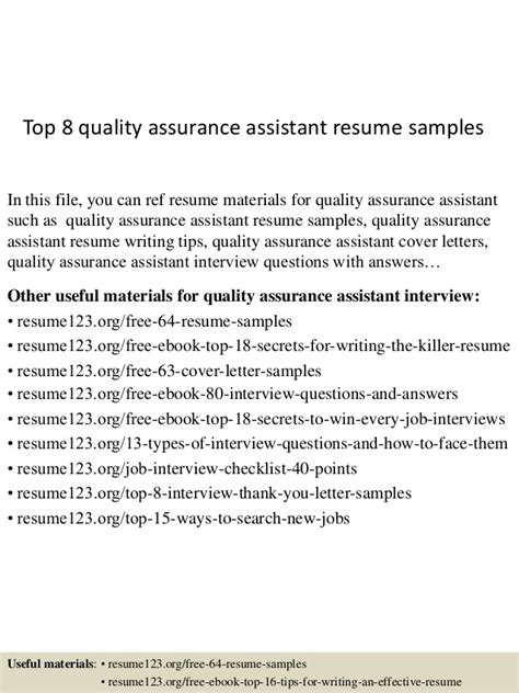 quality assurance assistant sle resume top 8 quality assurance assistant resume sles