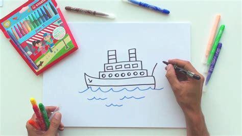 bootje tekenen hoe teken je een boot stabilo tekentutorials makkelijk