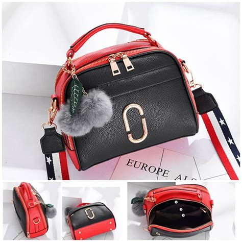 Pompom Import jual b3281 black tas pom pom cantik import grosirimpor