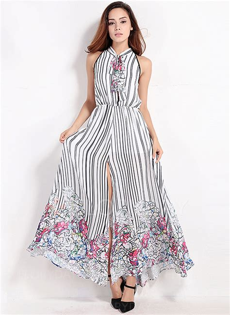 Sleeveless Striped A Line Dress stripe sleeveless maxi a line dress floryday