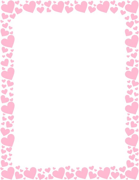 free printable valentine stationary borders printable pink heart border free gif jpg pdf and png