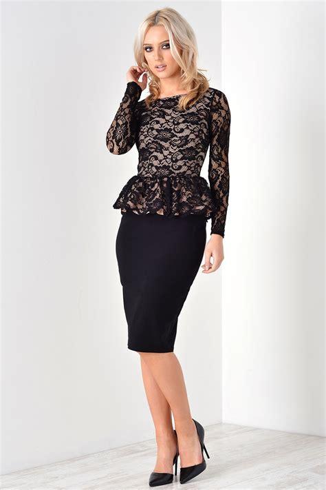 Dress In Black sissy lace peplum midi dress in black
