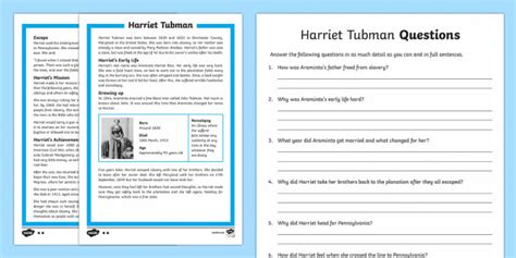 harriet tubman biography and questions harriet tubman differentiated reading comprehension activity