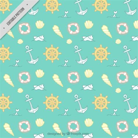 nautical pattern vector free lovely hand drawn nautical elements pattern vector free