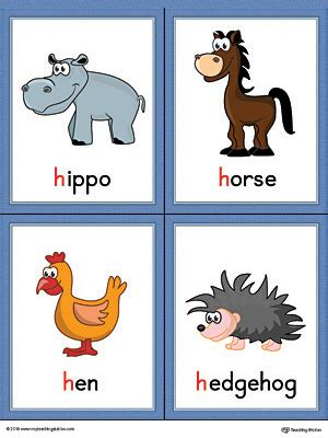 color starting with h letter h words and pictures printable cards hippo