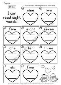 free heart number words worksheet kindergarten math