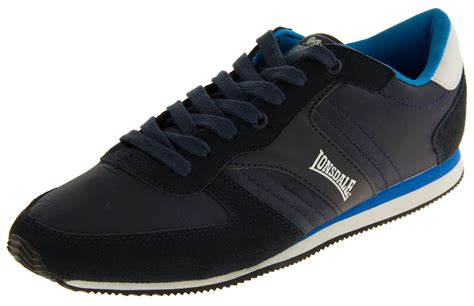 sports shoes size 11 mens lonsdale leather sports trainers lace up casual navy