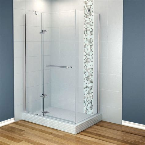 Maax Glass Shower Doors Maax Reveal 33 7 8 In X 48 In X 71 1 2 Frameless Corner Pivot Shower Enclosure In Chrome