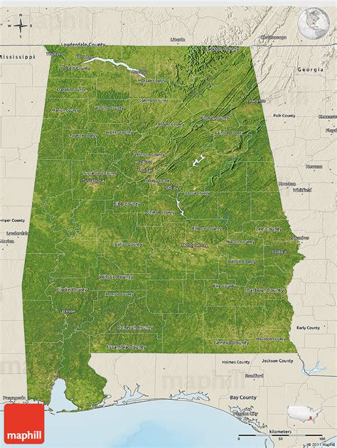 satellite map united states satellite 3d map of alabama shaded relief outside