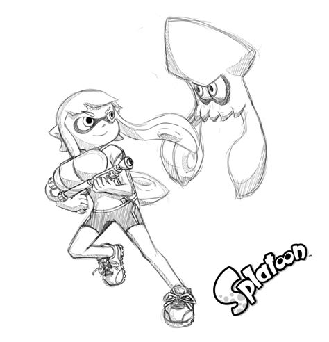 Splatoon 2 Sketches by Splatoon Coloring Pages Sketch Coloring Page