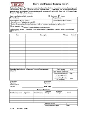 Rutgers Mba Course Catalog by Business Expense Report Form Templates Fillable
