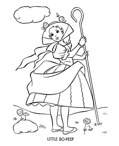 bluebonkers little bo peep nursery rhymes coloring page