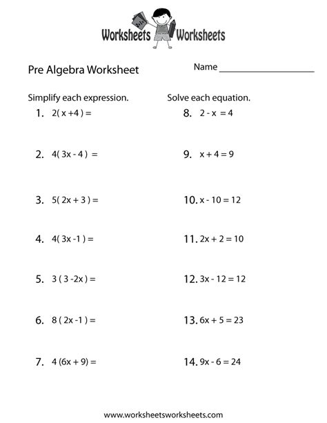 pre algebra review worksheet free printable educational