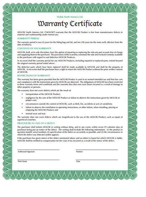 warranty certificate template editable