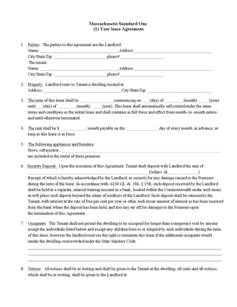 1 Year Rental Agreement One Year Lease Template