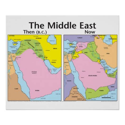 middle east map bible times the middle east then and now poster zazzle