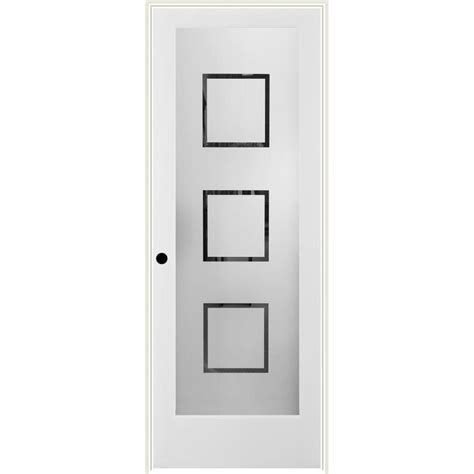Shop Reliabilt Metropolitan Solid Core Frosted Glass Prehung Interior Door With Glass