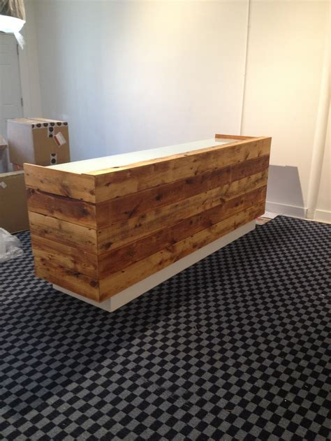 reclaimed wood front desk our reclaimed wood front desk by found design was just