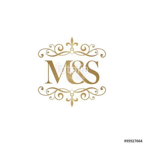m s quot m s initial logo ornament ersand monogram golden logo quot stock image and royalty free vector