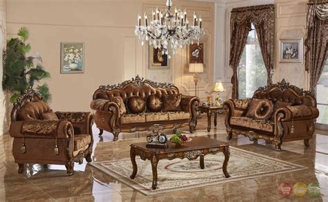 Living Room Furniture Traditional Style Traditional Style Formal Living Room Furniture Brown Sofa Set Carved Wood Frames Ebay