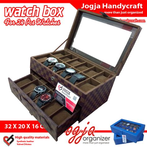Top Quality Box Kotak Tempat Jam Tangan Isi 12 Mocca damier box for 24 watches kotak jam tangan isi 24