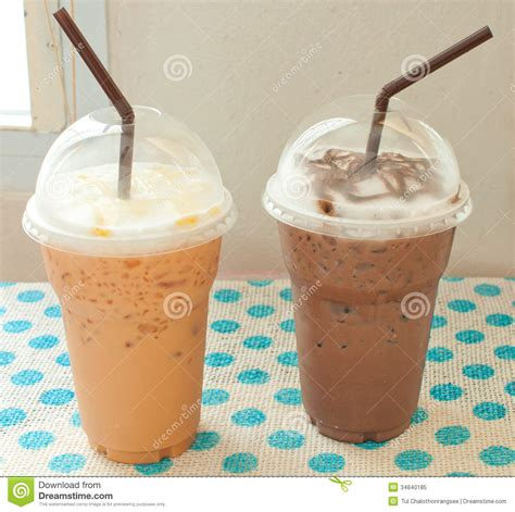 Thai Iced Tea With Iced Chocolate Royalty Free Stock Photo   Image: 34640185