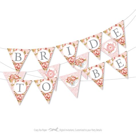 Banner Flag Bunting Flag Bridal Shower To Be Motif Flower bridal tea bunting banner to be bunting