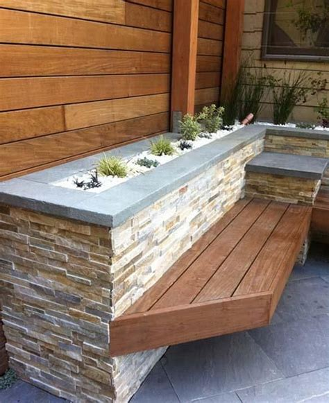 stacked stone bench stone cladding with timber bench outdoor diy pinterest