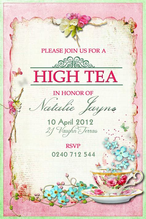 free printable invitations afternoon tea victorian high tea party invitations surprise party