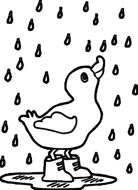 duck in the rain colouring page kindergarten rain duck april coloring page wecoloringpage