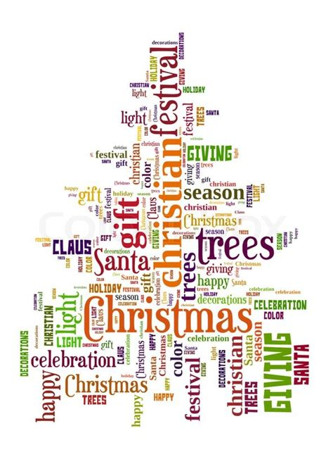 words that describe christmas word cloud of tree stock photo colourbox