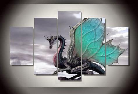 Home Decor Items Cheap 5 panels dragon group artwork multi canvas art