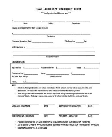 travel authorization form template travel authorization form exle original size